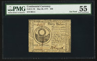 Continental Currency May 20, 1777 $30 PMG About Uncirculated 55