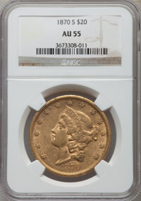 1870-S $20 AU55 NGC. NGC Census: (268/309). PCGS Population (81/130). Mintage: 982,000. Numismedia Wsl. Price for proble...