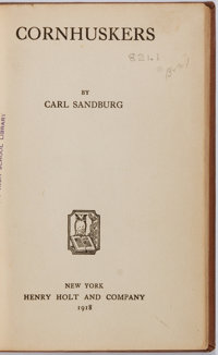 Carl Sandburg. Cornhuskers. Henry Holt and Company, 1918. First edition. Library edi