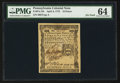Colonial Notes:Pennsylvania, Pennsylvania April 3, 1772 18d PMG Choice Uncirculated 64.. ...