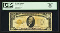 Small Size:Gold Certificates, Fr. 2400 $10 1928 Gold Certificate. PCGS Apparent About New 50.. ...