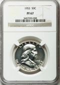 Proof Franklin Half Dollars: , 1953 50C PR67 NGC. NGC Census: (623/63). PCGS Population (220/14).Mintage: 128,800. Numismedia Wsl. Price for problem free...
