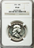 Proof Franklin Half Dollars, 1951 50C PR64 NGC. NGC Census: (580/1526). PCGS Population(1113/1625). Mintage: 57,500. Numismedia Wsl. Price for problem ...