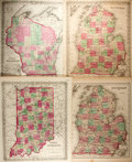 "Books:Maps & Atlases, [Maps] Maps of Michigan, Indiana and Wisconsin. 14.5"" x 17.25"". Removed from a larger atlas. Toning to paper; chipping and t..."