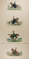 """Books:Prints & Leaves, [Horses] Set of Four Fantastic Hand-Colored Engravings DepictingHorsemanship. 19.75"""" x 12.5"""". Stamped """"Made in France"""" on t..."""