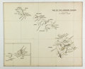 """Books:Maps & Atlases, [Map]. Map of the Hawaiian Islands. 20"""" x 13"""". Removed from a larger volume. Central vertical binding crease, else very good..."""