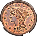 Large Cents, 1856 1C Upright 5 MS66 Red and Brown NGC. CAC. N-6, R.1....