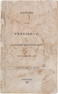 Miscellaneous:Ephemera, [Mirabeau B. Lamar]. Message of the President, Submitted to BothHouses, December 21, 1838,...