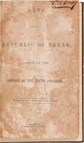Miscellaneous:Ephemera, [Texas Republic]. Laws of the Republic of Texas, Passed at theSession of the Fifth Congress - Second Issue,...