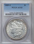 Morgan Dollars: , 1889-S $1 AU53 PCGS. PCGS Population (209/7856). NGC Census:(140/4984). Mintage: 700,000. Numismedia Wsl. Price for proble...