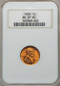 Lincoln Cents: , 1939 1C MS67 Red NGC. NGC Census: (800/0). PCGS Population (393/3).Mintage: 316,479,520. Numismedia Wsl. Price for problem...
