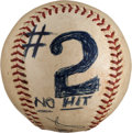 Baseball Collectibles:Balls, 1963 Sandy Koufax Second No-Hitter Game Used Baseball with OriginalPhotographs (4)....