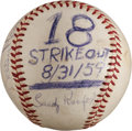 Baseball Collectibles:Balls, 1959 Sandy Koufax Eighteen Strikeout Game Used Baseball with Original Photograph....