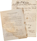 Autographs:Military Figures, [James Kerr]. Group of Three Documents...