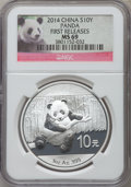 China:People's Republic of China, 2014 10 Yuan Panda Silver (1 oz), First Releases MS69 NGC. PCGS Population (5755/10224)....
