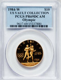 Modern Issues, 1984-W G$10 Olympic Gold Ten Dollar PR69 Deep Cameo PCGS. Ex: U.S.Vault Collection. PCGS Population (7589/216). NGC Census...