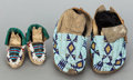 American Indian Art:Beadwork and Quillwork, A PAIR OF SIOUX CHILD'S BEADED HIDE MOCCASINS. c. 1890... (Total: 4Items)