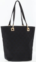 Luxury Accessories:Bags, Gucci Black Monogram Canvas Tote Bag with Black Leather Handles....