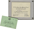 Music Memorabilia:Tickets, Beatles Town Hall Reception Ticket and Invitation, 1964. Here are aticket and invitation to the July 10, 1964, reception th... (Total:1 Item)