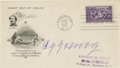 Autographs:Others, 1939 Cy Young Signed Hall of Fame Inaugural First Day Cover. Simply unimprovable blue ink autograph from the Dead Ball Era'...
