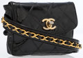 Luxury Accessories:Accessories, Chanel Black Patent Leather Quilted Belt Pouch with Gold Chain. ...