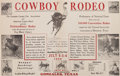 "Miscellaneous:Broadside, Gonzales, Texas, ""Cowboy Rodeo"" Poster, 1928...."