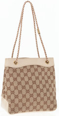 Luxury Accessories:Bags, Gucci Beige Monogram Canvas Shoulder Bag with Braided Handles. ...