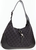 Luxury Accessories:Bags, Gucci Black Monogram Canvas Jackie O Shoulder Bag . ...