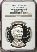 Modern Issues, 2009-P $1 Lincoln Bicentennial PR70 Ultra Cameo NGC. NGC Census:(6817). PCGS Population (2457). Numismedia Wsl. Price for...