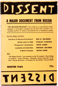 Books:Americana & American History, [Socialism] Quarterly of Socialist Opinion: Dissent. A Major Document From Russia, Winter 1960. Dissent Publish...