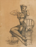 Pin-up and Glamour Art, GIL ELVGREN (American, 1914-1980). A Spicy Yarn, preliminaryBrown & Bigelow calendar illustration, 1952. Pencil onpape...