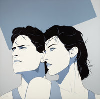 PATRICK NAGEL (American, 1945-1984) Profiles of a Man and Woman, 1983 Acrylic on canvas 40 x 40 i