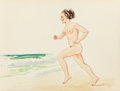 Pin-up and Glamour Art, AMERICAN ARTIST (20th Century). Nude Woman Running on theBeach. Watercolor on paper. 11 x 14.25 in.. Not signed. ...