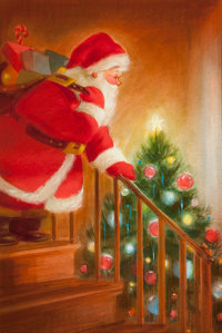AMERICAN ARTIST (20th Century) A Visit From Santa, The Norcross Greeting Card Collection Watercolor
