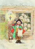 Mainstream Illustration, RUDY NAPPI (American, b. 1923). Christmas Scene of Boy withPuppy, The Norcross Greeting Card Collection. Pen and waterc...