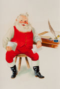 Mainstream Illustration, AMERICAN ARTIST (20th Century). Santa Reading His Mail, TheNorcross Greeting Card Collection. Gouache on cardstock. 9 x...
