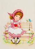 Mainstream Illustration, EVA HARTA (American, 20th Century). Little Girl Painting andLittle Girl Seated on a Bench (pair), The Norcross Greeting C...(Total: 2 Items)