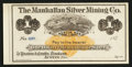 Obsoletes By State:Nevada, Austin, NV - The Manhattan Silver Mining Co. $1 187_ Remainder. ...