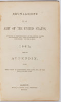 Books:Americana & American History, Regulations for the Army of the United States. Albany: Weed,Parsons, 1861. First edition. Black blind stamped cloth ove...