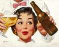 Pin-up and Glamour Art, GIL ELVGREN (American, 1914-1980). A Cool Beverage, preliminarybeer advertisement. Oil on canvas board. 14.75 x 19.75 i...