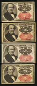 Fractional Currency:Fifth Issue, Fr. 1309 25¢ Fifth Issue Four Examples Fine-Very Fine or Better..... (Total: 4 notes)