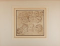 """Books:Prints & Leaves, [Antique Illustration] Original Drawing Showing an Comparison ofMen and Animals. 8.75"""" x 8"""". Matted and tipped-on to a larg..."""