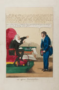 "Books:Prints & Leaves, [Artist Unknown]. Early 19th Century Hand-Colored Caricature ""Ex Officio Examination"". 11"" x 16.5"". Slight toning with modes..."