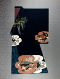"Books:Prints & Leaves, [Asian Art] Beautiful Chinese Hand-Painted Art on Silk. 26"" x33.5"". Stamped on back: ""Exclusively Designed for Louise's Ori..."