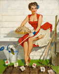 Pin-up and Glamour Art, GIL ELVGREN (American, 1914-1980). Worth Cultivating (A NiceCrop), Brown & Bigelow calendar illustration, 1952. Oil on...