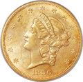 Liberty Double Eagles, 1856-S $20 AU55 PCGS. CAC. Variety 17J....