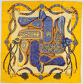 "Luxury Accessories:Accessories, Hermes Yellow & Blue ""Festival,"" by Henri d'Origny Silk Scarf...."