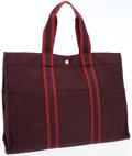 Luxury Accessories:Bags, Hermes Rouge H & Plum Canvas Fourre Tout Tote Bag. ...