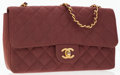 Luxury Accessories:Bags, Chanel Brown Quilted Canvas Single Flap Bag with Gold Hardware. ...