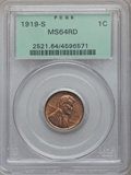 Lincoln Cents, 1919-S 1C MS64 Red PCGS. PCGS Population: (138/26). NGC Census:(27/6). CDN: $700 Whsle. Bid for problem-free NGC/PCGS MS64...